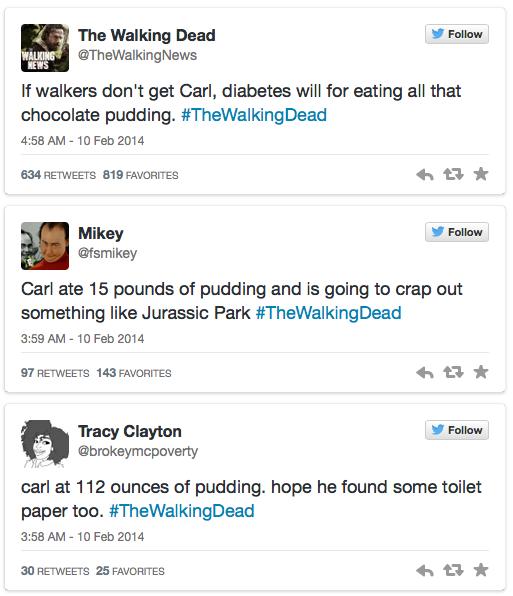 Tuits relacionados con la escena de Carl y el pudding de chocolate.
