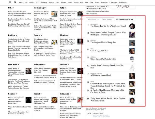 Caja de artículos recomendado del New York Times