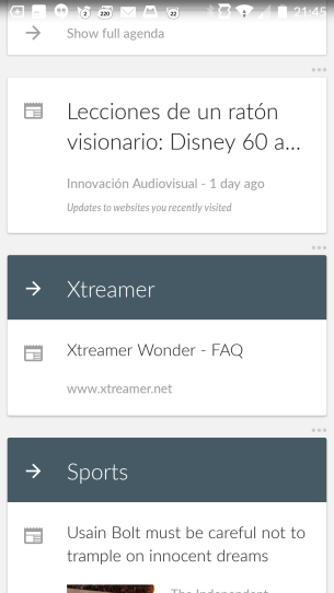 Pantallazo de los resultados de mi Google Now