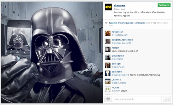 Selfie de Darth Vader - Primer post de la cuenta oficial de Star Wars en Instagram