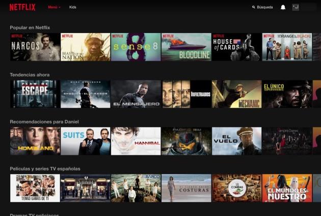 Interfaz Netflix España. Fuente: netflix.com/es